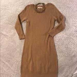 LOFT Tan Knit Sweater Dress